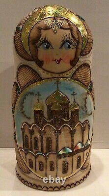 Russian Matryoshka Nesting Doll Churches Wood Burned Gold Handmade New 10 Pcs