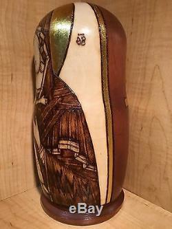 Russian Matryoshka Nesting Doll Madonna Saint Icon Wood Burned Handmade New 10