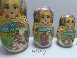 Russian Matryoshka Nesting Dolls 10 Piece Set Hand Painted Wooden 10 Vintage