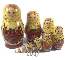 Russian Matryoshka Nesting Dolls 10 Piece Set Hand Painted Wooden 8 Vintage EUC