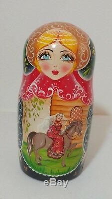 Russian Matryoshka Nesting Dolls 7 PC Signed Medieval Times Lord Lady 9 Vintage