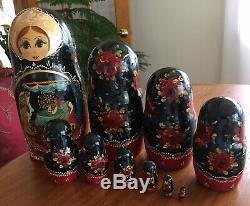 Russian Matryoshka Nesting Dolls Hand Carved 10Pc. Set Signed Fairy Tale Art