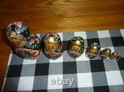 Russian Matryoshka Nesting Dolls SIGNED 7 pc Black Gold Crown Halo Handpainted