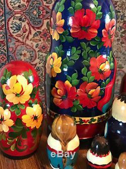 Russian Matryoshka Nesting Dolls Set Of 10 Signed