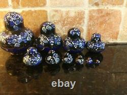 Russian Matryoshka Nesting Dolls Signed 10 Pieces 4 Blue Black Gold White #1