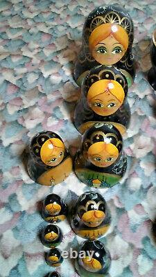 Russian Matryoshka Nesting Dolls Signed Hand Painted 10 Dolls Mockba Rare