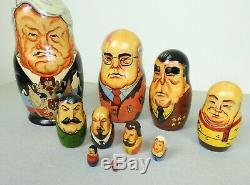 Russian Matryoshka Presidents Leaders Nesting Dolls Wooden Gorbachev 10 pc set