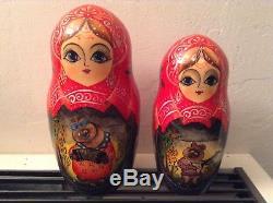 Russian Matryoshka Sergiev Posad 10 Nesting Doll Bears Playing Music Signed 10