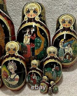 Russian Matryoshka Set of 10 Nested Wooden Dolls, Hand-painted, Signed, 1995