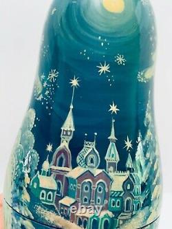 Russian Matryoshka Snow Princess Nesting Dolls Signed 1994 Scenes Both Sides 8