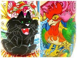 Russian Matryoshka nesting dolls 7 MATT BIG Black Cat & Rooster signed OBICHOVA