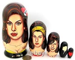 Russian Matryoshka nesting dolls Amy Jade Winehouse singer 5 Abakumova GIFT