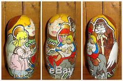 Russian Nativity Nesting DOLLS Baby Jesus Mary Joseph ANGEL Matryoshka