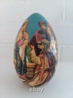 Russian Nesting 6 Egg Christmas Nativity Jesus Christ Life Baptism Cross Easter