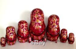 Russian Nesting Doll Fedoskino Style Cats 10 Pcs 9.5