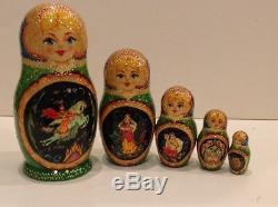 Russian Nesting Doll Fedoskino Style Ruslan & Ludmila 5 Pcs Signed 7.5 H