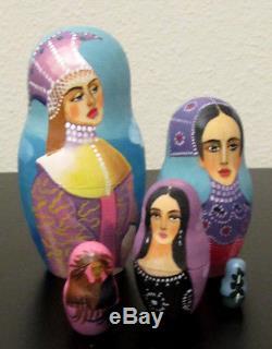 Russian Nesting Doll Fedoskino Style Russian Epics 10 Pcs Signed 10.5 H
