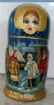 Russian Nesting Doll Fedoskino Style Snow Maiden 7 Pcs 8.5 H