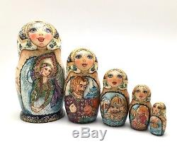 Russian Nesting Doll Hand Carved Hand Painted FAIRY TALE Tzar Saltan