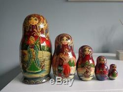 Russian Nesting Doll Set Signed/ Matryoshka/babushka/winter/fairytale/christmas