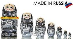 Russian Nesting Doll Winter`S Tale Hand Painted In Russia Moscow Kremlin