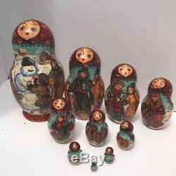 Russian Nesting Dolls 10 Dolls Signed Matryoshka Winter Scene Dog Cat Family