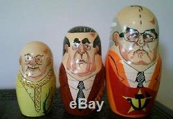 Russian Nesting Dolls 10 Matryoshka Soviet Leaders, vintage 1994