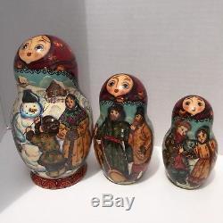 Russian Nesting Dolls 10 pieces Signed Matryoshka Winter Scene Dog Cat Family