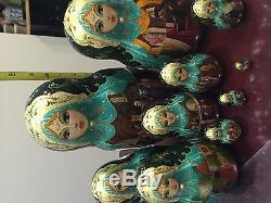 Russian Nesting Dolls 10pcs Set 12 Tall 1999 Studzinsky Sergiyev Posad Snowhit