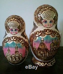 Russian Nesting Dolls 15 Matryoshka, 1994 vintage signed