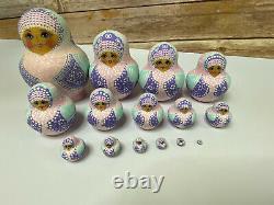 Russian Nesting Dolls 15 Pc Set Pastel Pink Matryoshka Babushka Signed Artist 6