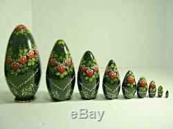 Russian Nesting Dolls 1993 Artist Signed 9 Pc Hand Painted Wood 8 Matryoshka
