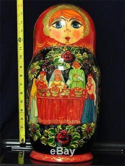 Russian Nesting Dolls 25pcs Set 16.5 Tall 1995 Moscow Artist #2-1-2