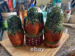 Russian Nesting Dolls Beautiful Country Lady Wooden Matryoshka 7 Pieces. 1990s