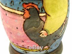 Russian Nesting Dolls Big MATT Matryoshka 7 HAND PAINTED Chicken RYABOVA signed