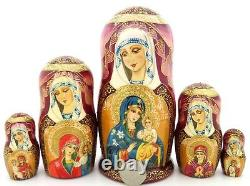Russian Nesting Dolls Flower which Never withers Orthodox Icon 5 Theotokos GIFT