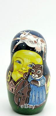 Russian Nesting Dolls Matryoshka 5 Mother Goose Humpty Dumpty Cat and Fiddle