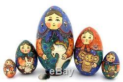 Russian Nesting Dolls Matryoshka Babushka 5 HAND PAINTED EGG Teddy TOYS RYABOVA