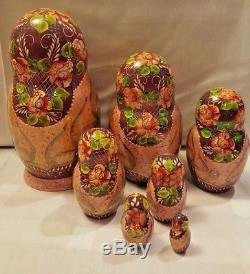 Russian Nesting Dolls Matryoshka Fairy Tales 7 pieces Signed
