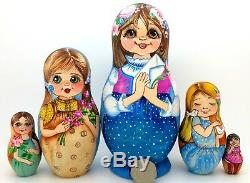 Russian Nesting Dolls Matryoshka HAND PAINTED MATT 5 Vintage Girls Postcards