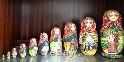 Russian Nesting Dolls Matryoshka Matreshka signed vintage collector 10 Piece