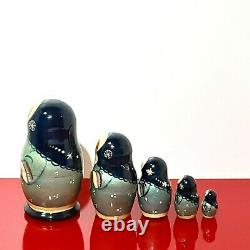 Russian Nesting Dolls Winter Hand Painted Wooden Signed 5 Pcs