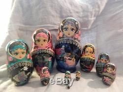 Russian Nesting Matryoshka Dolls 10 Pushkin Fairy Tales Prince Princess Bird
