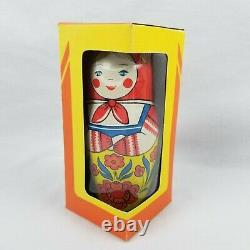 Russian Nesting Metal Wind Up Doll 1970's Mechanical Toy USSR Vtg