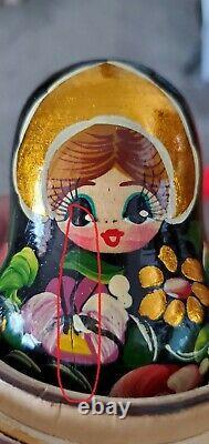 Russian Nesting Stacking Matryoshka Babushka Dolls CEPRUEB NOCAG SIGNED