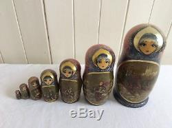 Russian Nesting/Stacking Matryoshka Doll, Troika theme, 7 pieces, hand painted