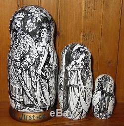 Russian Nesting dolls Matryoshka 3 Henry Justice Ford illustration FAIRY TALE