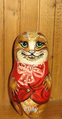 Russian Nesting dolls Matryoshka 5 ALICE IN WONDERLAND CHESHIRE CAT WHITE RABBIT
