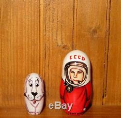 Russian Nesting dolls Matryoshka SPACE Gagarin Titov Leonov Belka USSR cosmonaut