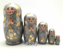 Russian Princess Nesting Doll Hand Painted babushka set Signed